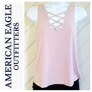AEO Soft n Sexy Sueded Criss Cross Tank Dusty Pink
